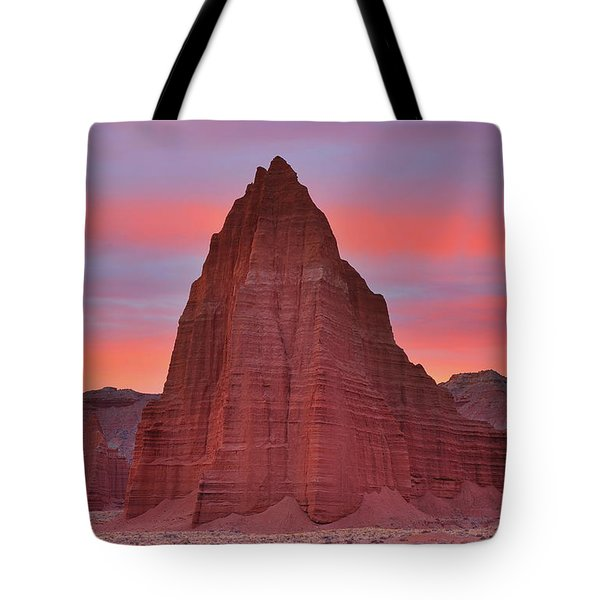 Temple Of The Sun And Moon At Sunrise At Capitol Reef National Park Tote Bag