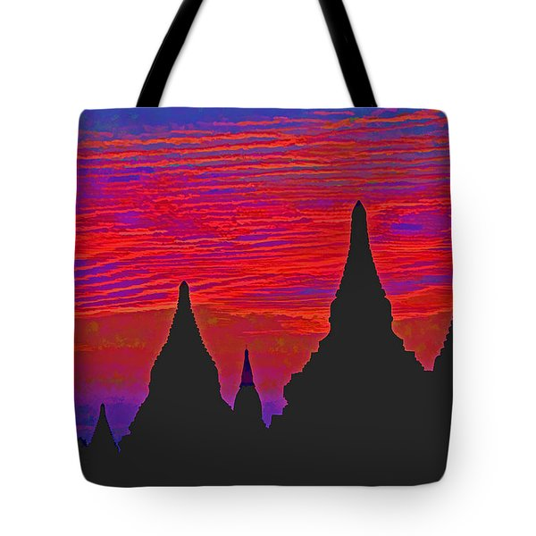 Temple Silhouettes Tote Bag