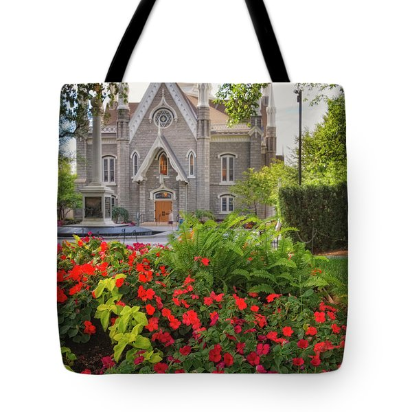 Temple Square Flowers Tote Bag