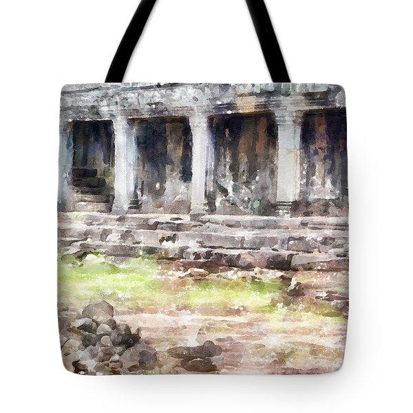 Temples At Angkor Tote Bag by Shirley Stalter