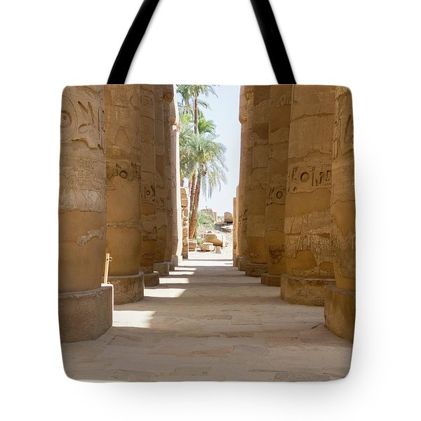 Tote Bag featuring the photograph Temple Of Karnak by Silvia Bruno