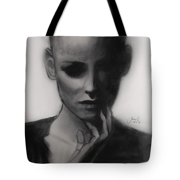 Tote Bag featuring the painting Temporary Secretary by Jarko Aka Lui Grande