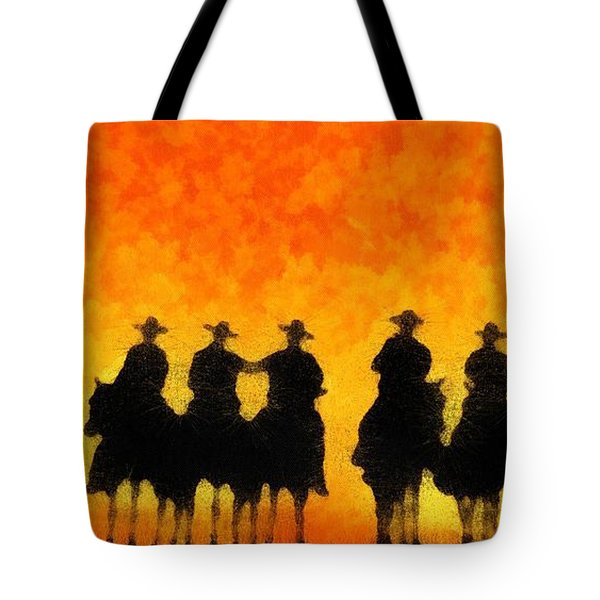 Tote Bag featuring the digital art Ten Cowboys by Carrie OBrien Sibley