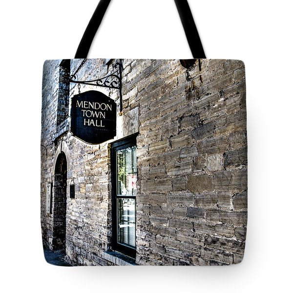 Tote Bag featuring the photograph Mendon Town Hall by William Norton