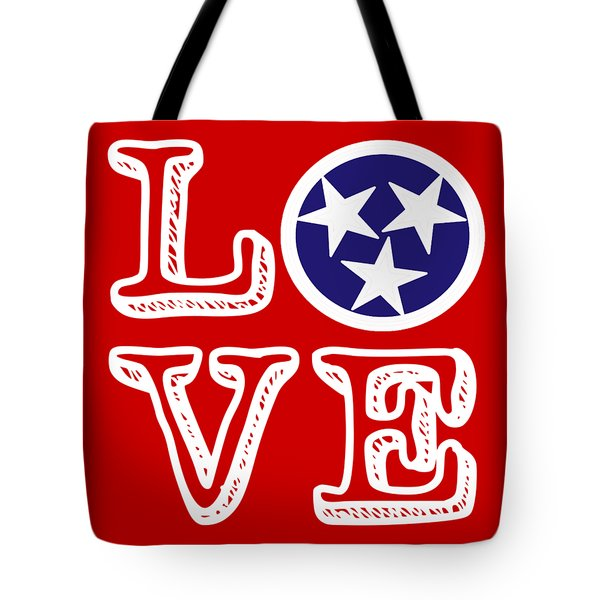 Tote Bag featuring the digital art Tennessee Flag Love by Heather Applegate