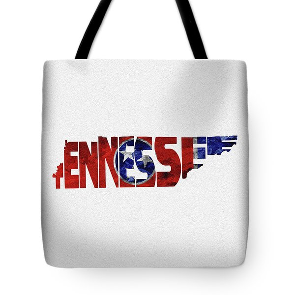 Tennessee Typographic Map Flag Tote Bag