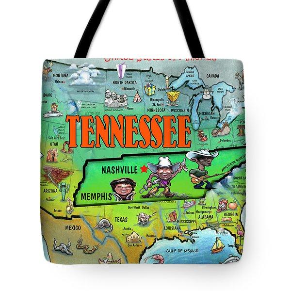 Tennessee Usa Cartoon Map Tote Bag