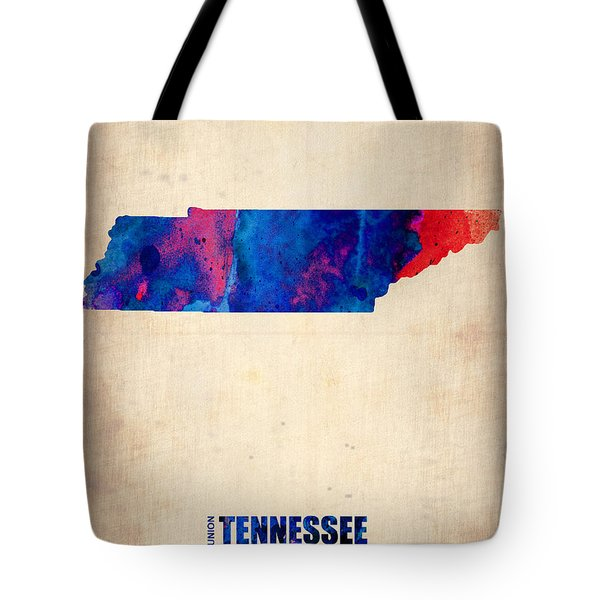Tennessee Watercolor Map Tote Bag by Naxart Studio