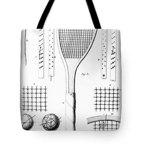 Tennis Racket And Balls Tote Bag by French School