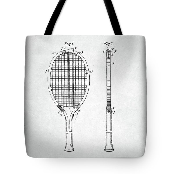 Tennis Racket Patent 1907 Tote Bag by Taylan Apukovska