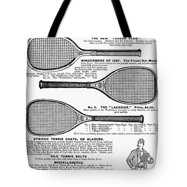 Tennis Rackets, 1887 Tote Bag by Granger