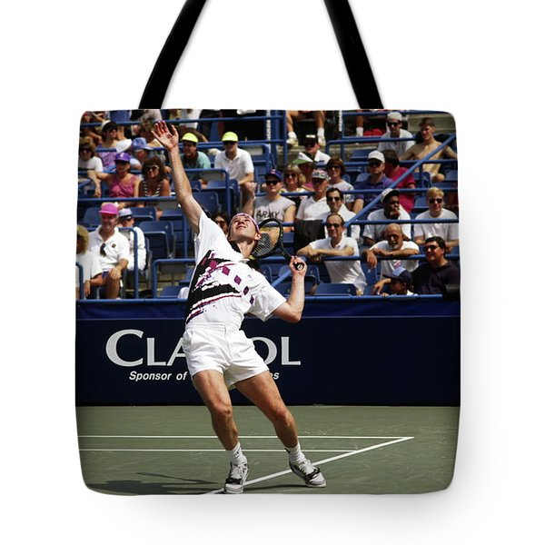 Tennis Serve Tote Bag by Sally Weigand