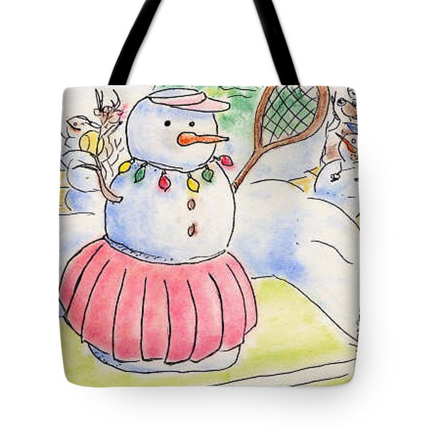 Tennis Snowlady Tote Bag by Vonda Lawson-Rosa
