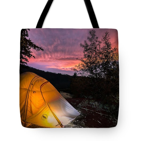 Tent At Sunset Tote Bag