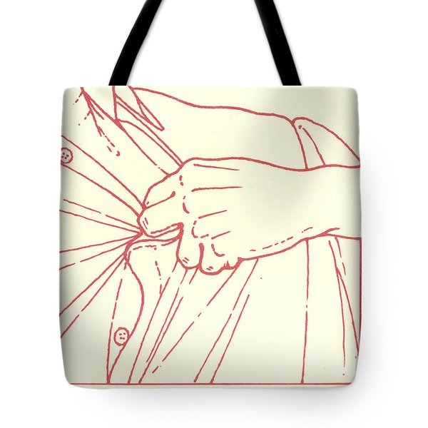 Tote Bag featuring the drawing Tenth Station- Jesus Is Stripped Of His Garments by William Hart McNichols