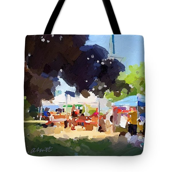 Tents And Church Steeple At Rockport Farmers Market Tote Bag