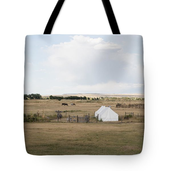 Tents At Fort Laramie National Historic Site In Goshen County Tote Bag by Carol M Highsmith