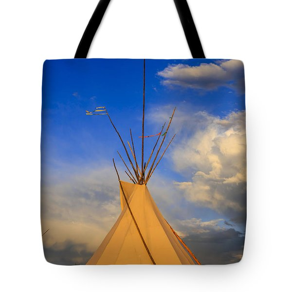 Tepee At Sunset In Montana Tote Bag