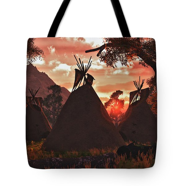 Tepee Sunset Tote Bag by Walter Colvin