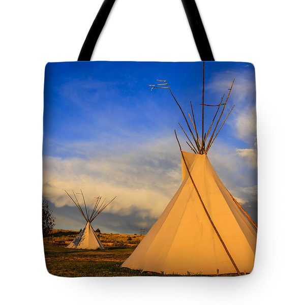 Tepees At Sunset In Montana Tote Bag by Chris Smith