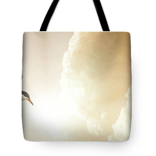 Tern In Flight, Spiritual Light Of Dusk Tote Bag