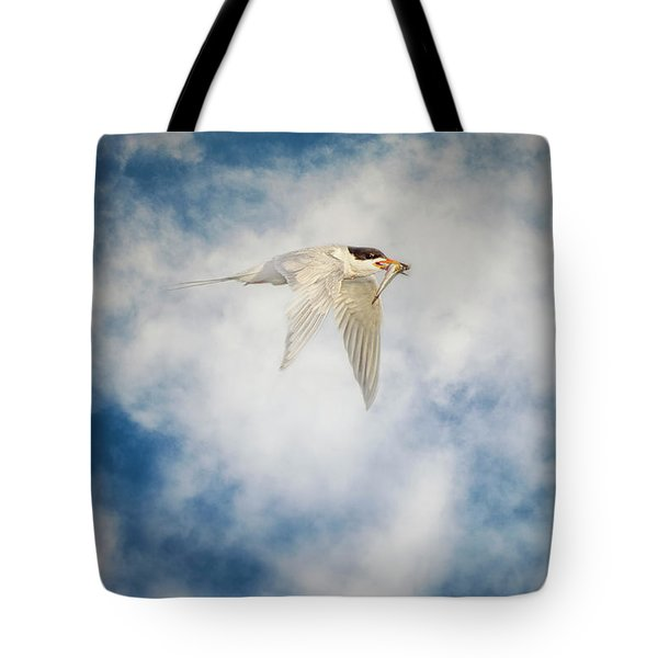 Tern In Flight With Fish Tote Bag