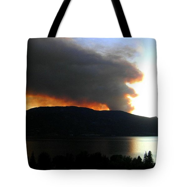 Terrace Mountain Fire Tote Bag by Will Borden