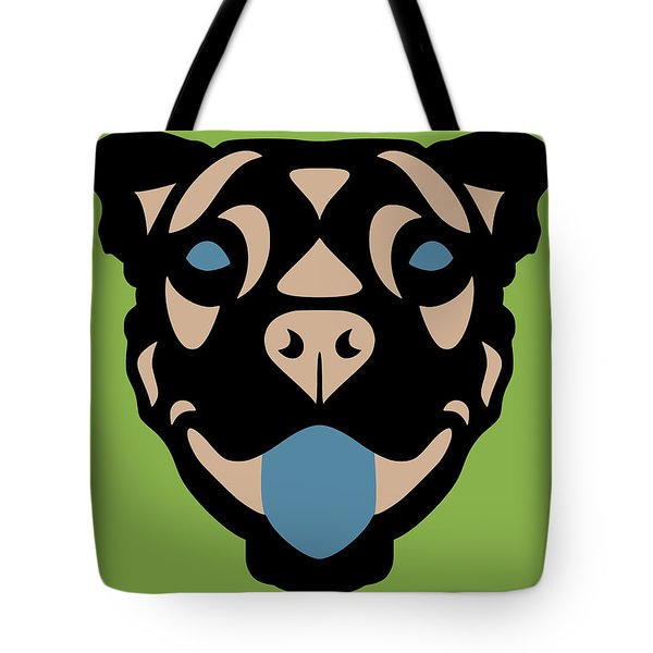 Terrier Terry - Dog Design - Greenery, Hazelnut, Niagara Blue Tote Bag