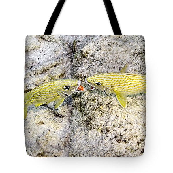 Tote Bag featuring the photograph Territorial Dispute by Perla Copernik