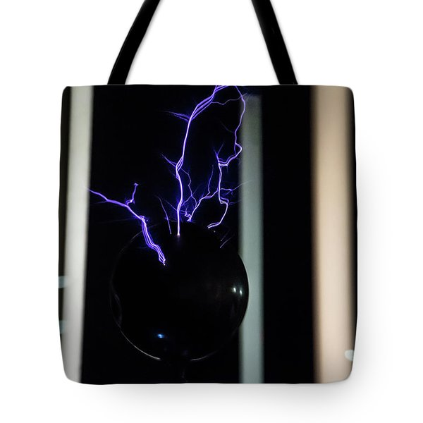 Tote Bag featuring the photograph Tesla Coil 2 by Tyson Kinnison