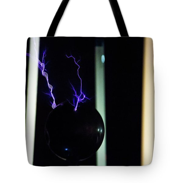 Tote Bag featuring the photograph Tesla Coil 3 by Tyson Kinnison