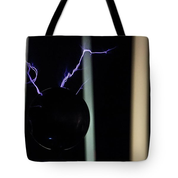 Tote Bag featuring the photograph Tesla Coil 5 by Tyson Kinnison