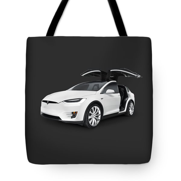 Tesla Model X Luxury Suv Electric Car With Open Falcon-wing Doors Art Photo Print Tote Bag