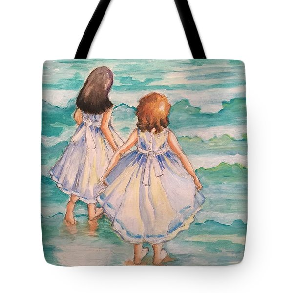 Tote Bag featuring the painting Testing The Waters by Rosemary Aubut