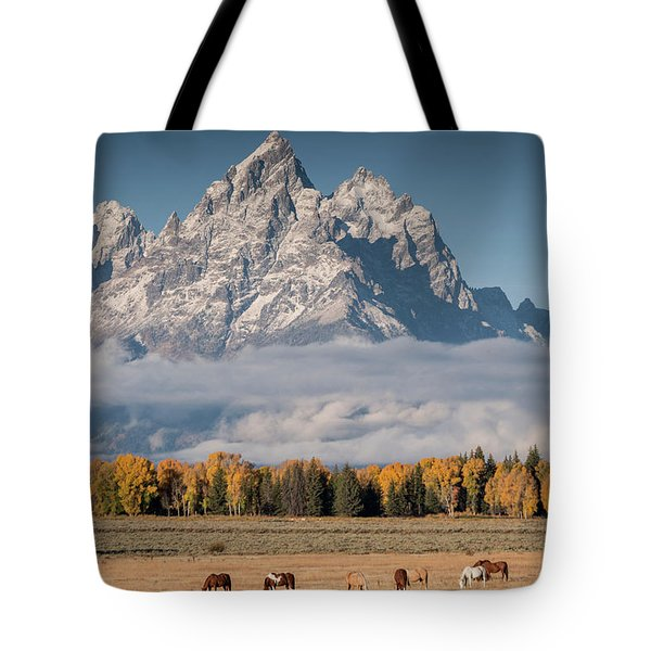 Tote Bag featuring the photograph Teton Horses by Wesley Aston