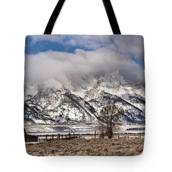 Tote Bag featuring the photograph Teton Mormon Homestead Panorama by Adam Jewell