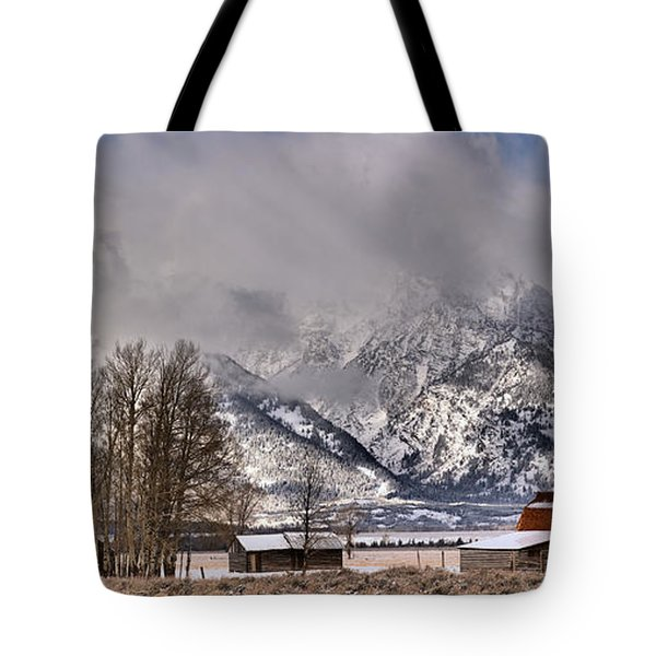 Tote Bag featuring the photograph Teton Mormon Row Panorama by Adam Jewell
