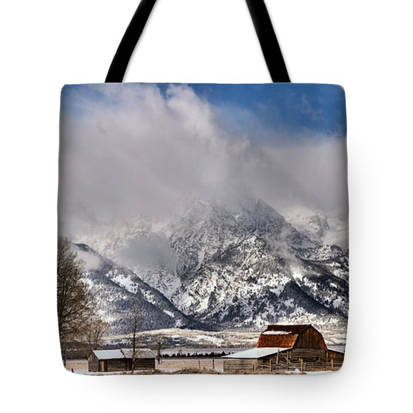 Tote Bag featuring the photograph Teton Mountains Over Mormon Row by Adam Jewell