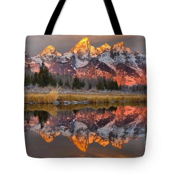 Teton Mountains Sunrise Rainbow Tote Bag
