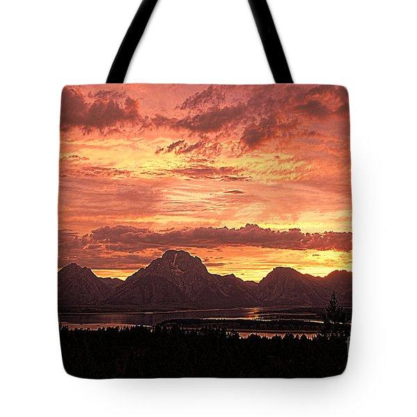Teton Sunset Tote Bag