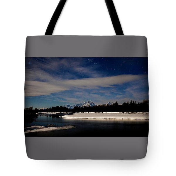 Tetons At Moonlight Tote Bag