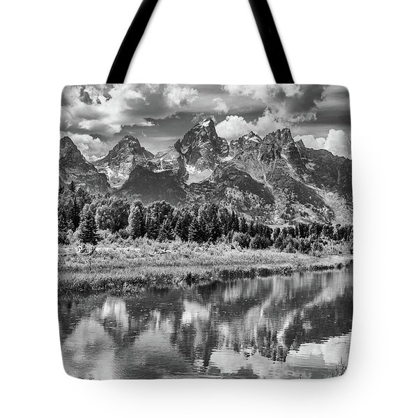 Tetons In Black And White Tote Bag by Mary Hone