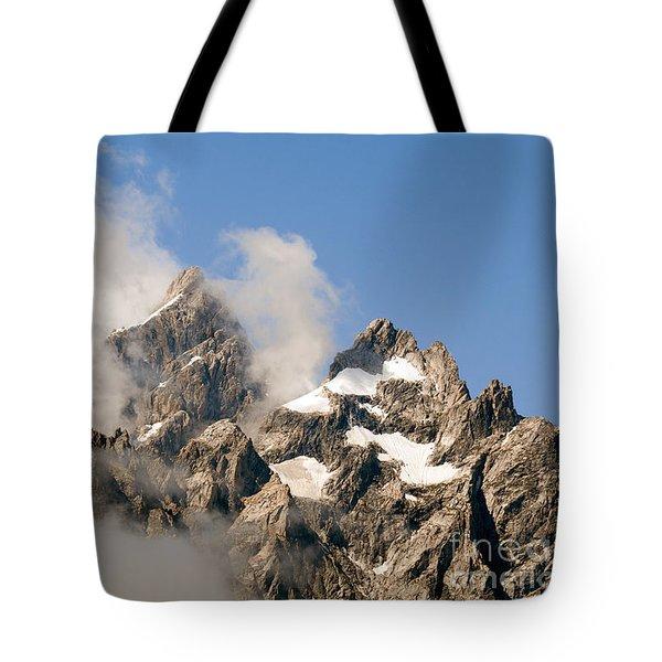 Tetons In Clouds II Tote Bag by Sharon Seaward