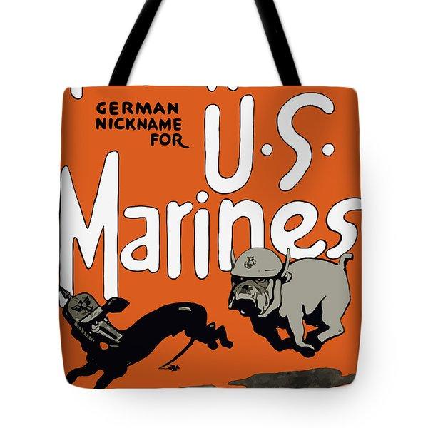 Teufel Hunden - German Nickname For Us Marines Tote Bag