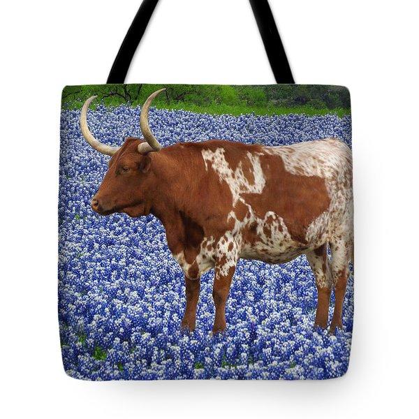Da227 Tex And The Bluebonnets Daniel Adams Tote Bag