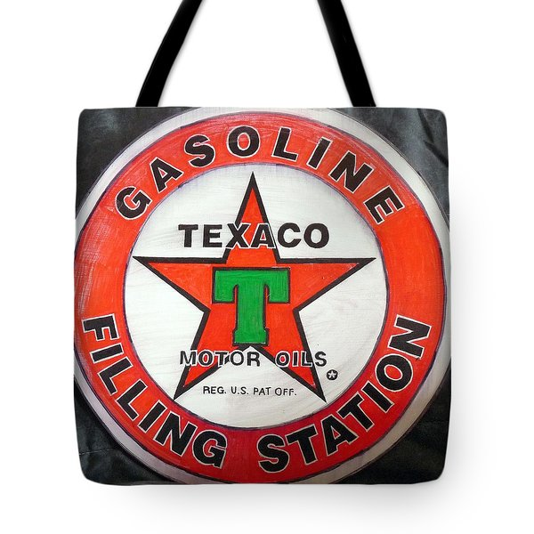 Tote Bag featuring the painting Texaco Sign by Richard Le Page