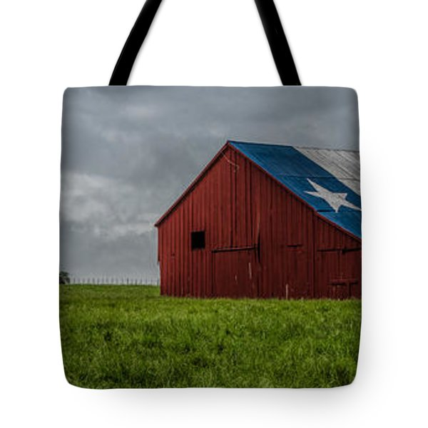 Texas Barn Panorama Tote Bag