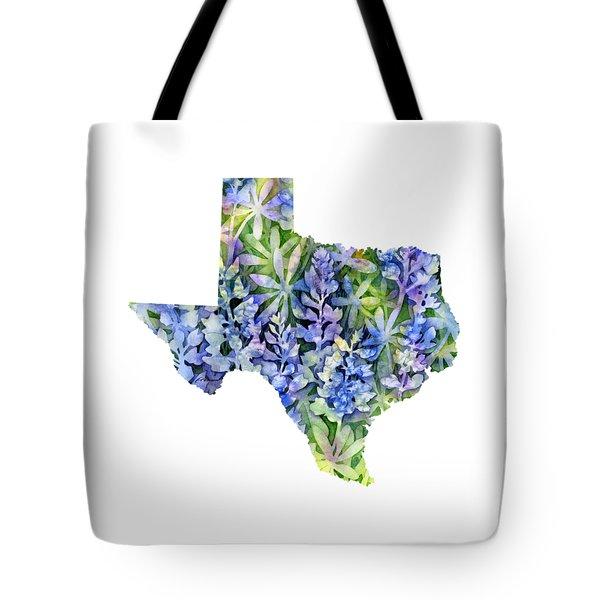 Texas Blue Texas Map On White Tote Bag