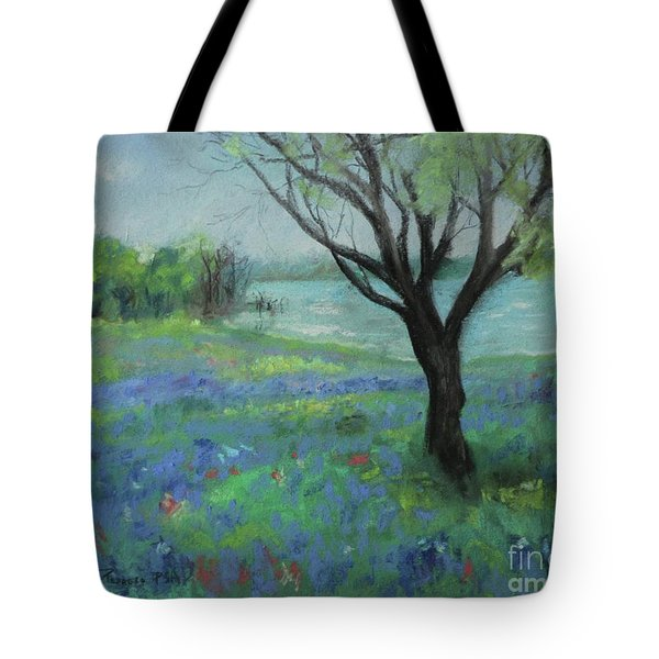 Tote Bag featuring the painting Texas Bluebonnet Trail by Robin Maria Pedrero