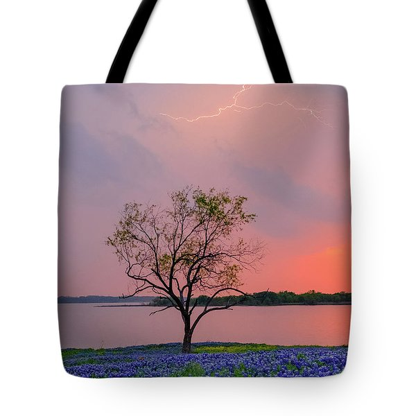 Texas Bluebonnets And Lightning Tote Bag